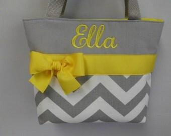 Gray CHEVRON Child Size  Bag.. .  Little GIRL  Purse ..Bright YELLOW  ...  Monogrammed  FReE