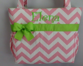 CHEVRON  in Pink  .. .. LIME   Accents  ...   Diaper Bag ...Bottle Pockets ..  Monogrammed  FReE