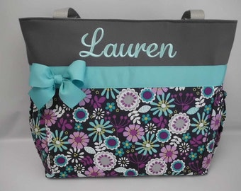 Gray ... Lazy DAISY .... Diaper  Bag .. Bottle Pockets  ... Personalized FREE