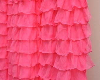 Ruffle Curtain Panel in Hot Pink, 84 inches long by 44 inches wide - Pink Window Treatment - Bedroom Curtains - Ruffled Curtain Panel