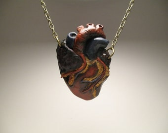 Anatomical Heart Necklace - Polymer Clay Jewelry - Gift for Her