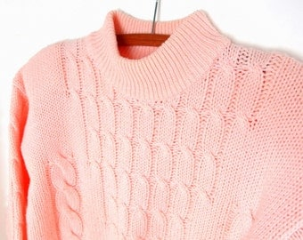 Vintage 1980s Bulky Sweater, Pink Cable Sweater, Modern Size 14, Large