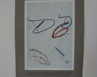 Antique Edwardian Embroidery Instruction Card Print #9 Coral Stitch - EnglishPreserves