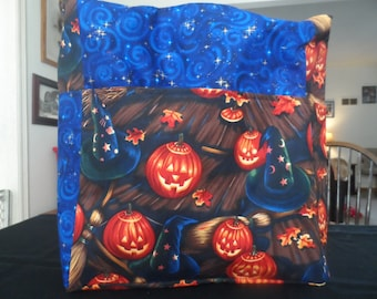 witch hats broom blue halloween pumpkin large tote bag/purse/ diaper bag