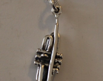 Sterling 3d TRUMPET Pendant and 20 Inch Chain - Music, Instrument, Musician