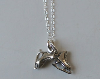 Sterling Silver 3D ICE SKATES Pendant  and Chain -  Skating,