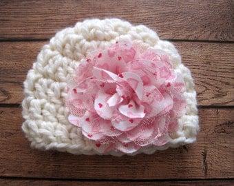 Baby Valentines Hat, Baby Girl Valentine Hat, Newborn, Crochet Baby Hat, Baby Girl Hat, Newborn Girl Hat, Baby Flower Hat, Red, Pink, Hearts