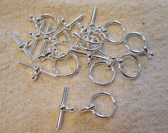 Silver Plated Toggle Clasps 15mm with 20mm Bar 6 clasps F397