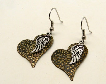 Steampunk mix metal jewelry brass earrings with angle wings.
