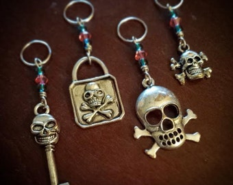 Pretty Poison: Set of 4 Skulls and Crossbones Stitch Markers