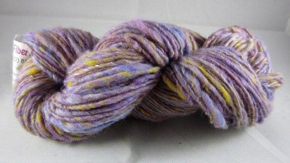 Handspun merino wool/mohair single lavender and yellow dk weight yarn