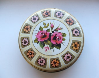 Vintage Floral Round Tin Candy Box Made in Great Britain