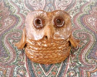 Vintage Handmade Pottery Owl