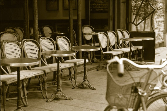 A French Cafe Horizontal  Archival Print