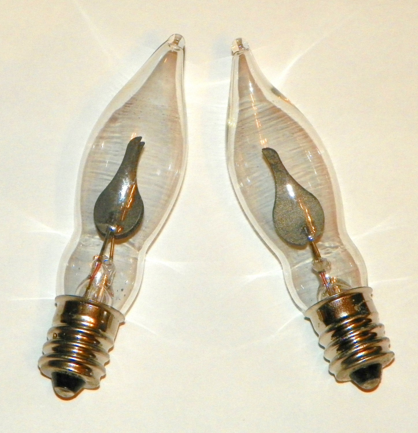 6 Flicker Bulbs Clear Glass Flame Shaped Glass Bulb With