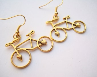 Gold Plated Bike Bicycle Cycling Earrings Present Cyclist