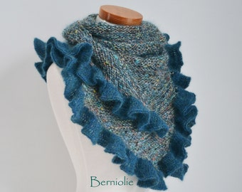 Knitted shawl with ruffled trim, Teal, N287