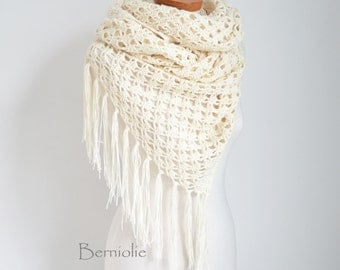 Lace crochet shawl, stole, cotton, Creme, N289