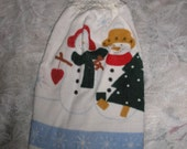 Crochet  Cotton Top Kitchen Hand Towel Snowmen