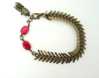 Antique Brass Bracelet, Ruby Bracelet, Fish Bone Bracelet