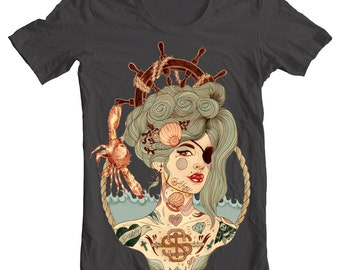 Mermaid Ahoy, Nautical T-Shirt, Unisex T-Shirt, Gray, XS,S,M,L,XL,XXL