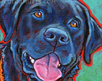 BLACK LAB Dog Original Art Painting on Canvas 6x6 by Lynn Culp