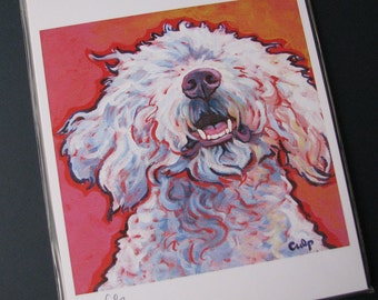 White LAGOTTO ROMAGNOLO Dog 8x10 Signed Art Print from Painting by Lynn Culp