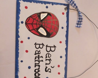 Spiderman Bathroom Wall Hanging - Personalized