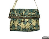 Indian Garden Gold and Green Girlie Bag Handbag Bridal Formal Evening with Gold Ribbon Strap