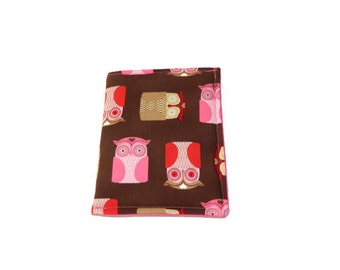 Pink Owls on Brown or Brown and Pink Floral Phone Cozy Case for Smart Phone Your Choice of One
