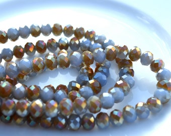 Thunder Grey Blue and Bronze 8x5mm Crystal Rondelle Beads  25