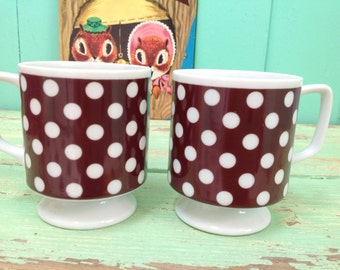 Adorable polka-dotted pair of mugs