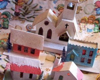 cardboard church and village