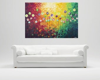 "painting Abstract Painting Multicolored acrylic impasto art wall decor wall art home office Canvas art ""Beautiful Autumn""by qiqigallery"