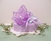 Lilac Shea Butter Bath Soap in a Light Purple organza wrap bag, Floral Soap, fleur de lis 5 oz