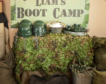 4ft x 2.5 ft Army Military themed backdrop soldier party