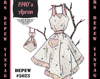 Vintage Sewing Pattern 1940's Apron in Any Size - PLUS Size Included - Depew 5023 -INSTANT DOWNLOAD-