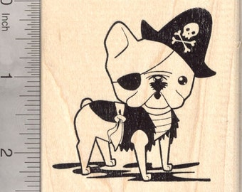 French Bulldog Pirate Rubber Stamp, Dog in Halloween Costume K25902 Wood Mounted