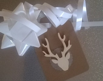 Rustic shiny stag holiday gift tags Christmas Scotland antlers