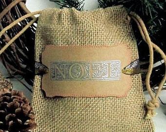 5 Christmas Gift Bags - Christmas Favor Bags - Hand stamped - Burlap - Noel