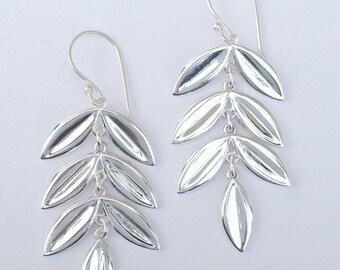 Fluttering silver leaf earrings