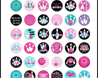 "Bowling set 2 Pink Aqua Turquoise - 1"" circles with retro bowling balls and pins on 8.5x11 inch sheet {Instant Download}"