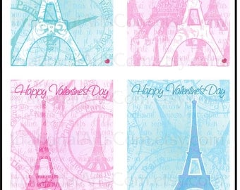 Valentines Day Cards Paris Eiffel Tower French Love Letter set 1 - for kids classroom exchange - DIY Printing Jpg & Pdf[Instant Download]