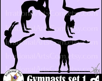 Female Gymnasts Silhouettes set 1 & 2 INSTaNT DOWNLOaD 8 Vinyl Ready Images SVG EPS PNG clipart graphics and Small Commercial License