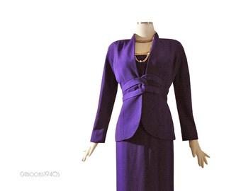 Vintage Silk Travilla Dress Suit - Purple 3 Piece Designer Dinner Suit