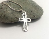 Sterling Silver Cross Necklace Open Decorative Cross Small Silver Cross Pendant Confirmation Gift Simple Silver Chain Christian Silver Gift
