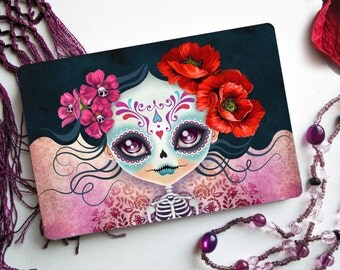 Amelia Calavera Postcard Postcrossing, Sugar Skull, Skeleton Girl