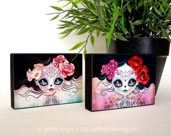 Amelia & Camila Sugar Skulls ACEO Wood Blocks, ATC Art Print Mounted on Wood, Mini Wall Art