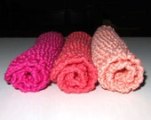 Handmade Knit Spa Cloths - Set of 3, Fuchsia, Coral & Pink  - 100% Italian Cotton