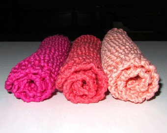 Handmade Knit Spa Cloths - Set of 3, Fuchsia, Coral & Pink  - 100% Italian Cotton